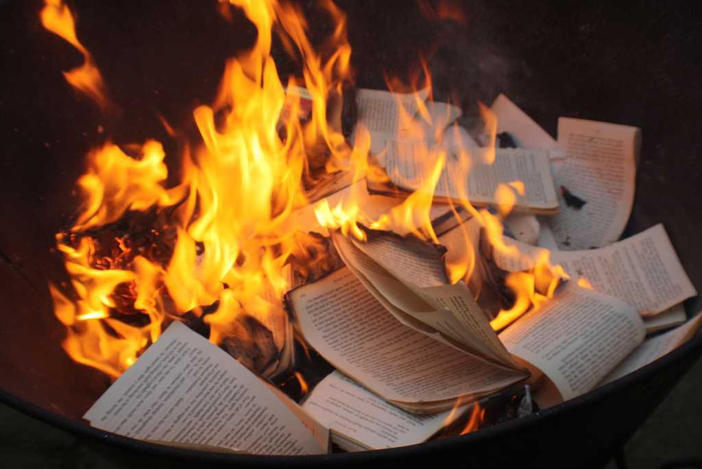 the art of burning books fahrenheit In the title usin a sweet lighter also skip to like half way through where the burning actually starts.
